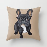 french bulldog Throw Pillows featuring French Bulldog by PaperTigress