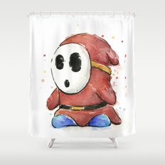 Shy Guy Watercolor Mario Art Shower Curtain