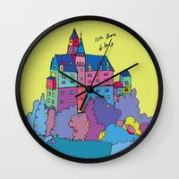 castle in the sky Wall Clocks featuring castle by PINT GRAPHICS