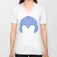 mega man V-neck T-shirts featuring Mega Man Typography by Kody Christian