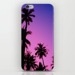 Tropical palm trees with purplish gradient iPhone Skin