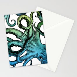 Octopus, Ocean Bue, Sea Green, Tentacles Stationery Cards