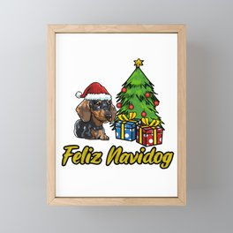 Feliz Navidog Daschund Christmas Gift Framed Mini Art Print