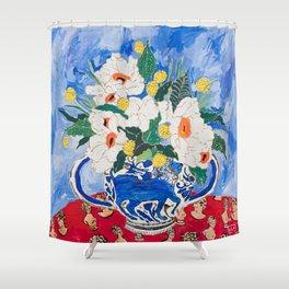 Queen of California - Giant Matilija Poppy Bouquet in Lion Vase on Blue Shower Curtain
