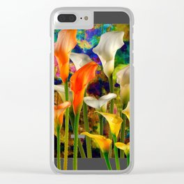 Orange Ivory & Golden Color Calla Lilies Golden Art Clear iPhone Case