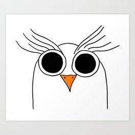 Drawing cartoon of a owl Art Print
