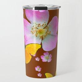 COFFEE BROWN YELLOW BUTTERFLIES & PINK WILD ROSES Travel Mug