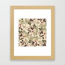Vintage ivory red green forest berries floral Framed Art Print