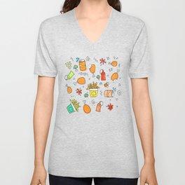 Fat food pattern. Unisex V-Neck