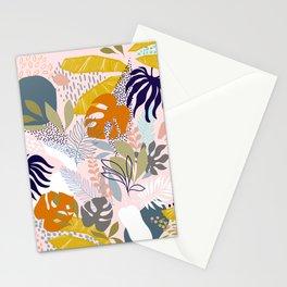 Tropical Retro Boho Foliage Pattern - Pink Stationery Cards