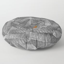 Orange Leaf On Grey And Silver Leaves - Beautiful Background - Autumn mood - #Society6 #buyart Floor Pillow