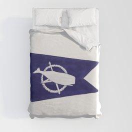 Nantucket Blue and White Sperm Whale Burgee Flag Hand-Painted Duvet Cover