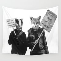 ed sheeran Wall Tapestries featuring Ed Badger and Kate Fox (colour) by 101020