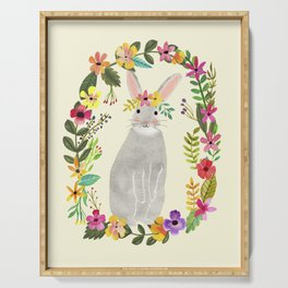 Floral Bunny Serving Tray