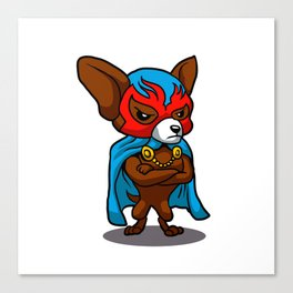 Cute dog chihuahua Fighter Lucha Libre Canvas Print