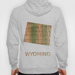 Wyoming map outline Brown green blurred watercolor texture Hoody