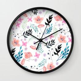 Sweet Floral Watercolor Wall Clock