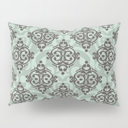 Turquoise and brown damask pattern Pillow Sham