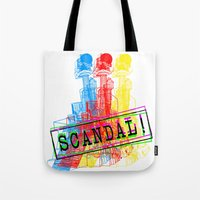 scandal Tote Bags featuring Scandal Scandal Scandal by Genco Demirer