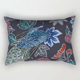Peacock Floral in Midnight Rectangular Pillow