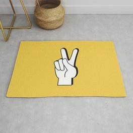 Peace Sign yellow Rug