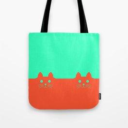 Meow Orange Turquoise Tote Bag