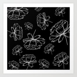 Hand Drawn Peonies Black Art Print
