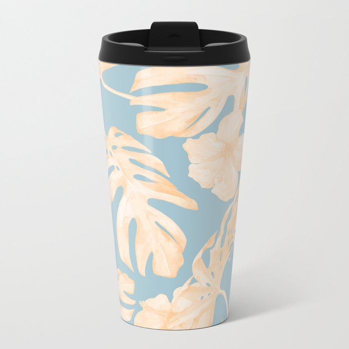 Island Vacation Hibiscus Palm Coral Sky Blue Metal Travel Mug