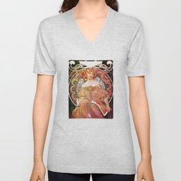 Alphonse Mucha Daydream Floral Vintage Art Nouveau Unisex V-Neck
