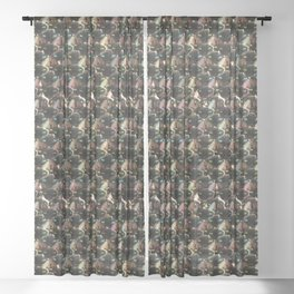Pattern of many sphinx cats Sheer Curtain