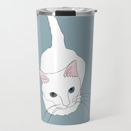 Kitty cat Illustrated Print White Pink Blue Travel Mug