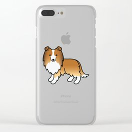 Sable Shetland Sheepdog Dog Cartoon Illustration Clear iPhone Case