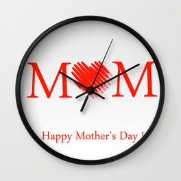 Happy mothers day- Red heart scribbled to form letter O Wall Clock