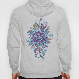 Deep Summer - Watercolor Floral Medallion Hoody