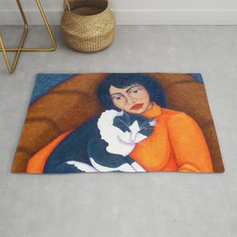 Cat Morgana with Woman Rug