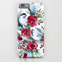 Winter Birds White iPhone Case