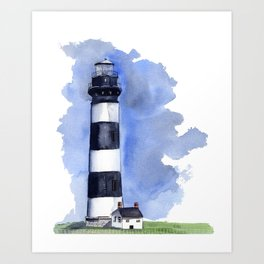 Bodie Island Lighthouse loose watercolor painting Art Print