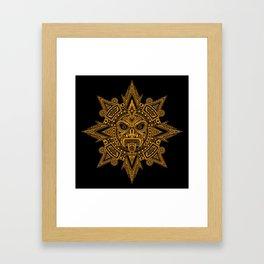 Ancient Yellow and Black Aztec Sun Mask Framed Art Print