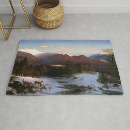 Mount Lafayette In Winter 1870 By Thomas Hill | Reproduction Rug