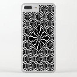 Wavy Black and White Diamond Pinwheels and Stripes 2 Digital Illustration Artwork Clear iPhone Case
