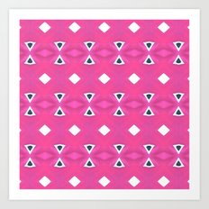 Geo Triangle Pink Navy 3 Art Print
