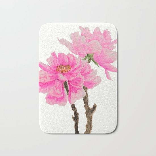 two pink peonies watercolor Bath Mat