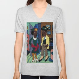 African American Masterpiece 'Street Life, Harlem' by William Johnson Unisex V-Neck