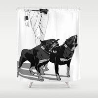 rottweiler Shower Curtains featuring Fashion Rottweiler  by Gregory Casares