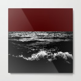 Black Wave w/Dark Red Horizon Metal Print