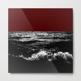 Black Wave w/Dark Red Horizon Metal Print
