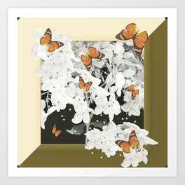 Hydrangea And Butterflies in Frame #decor #society6 Art Print