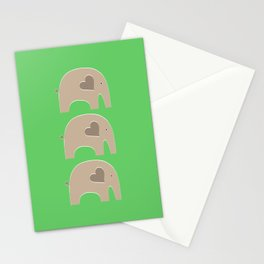Green Safari Elephant Stationery Cards