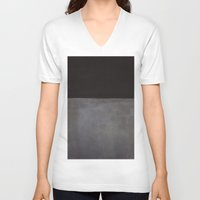 rothko V-neck T-shirts featuring Mark Rothko Black on Grey by Angelina Fenty