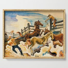 Classical Masterpiece by 'Lassoing Horses' Thomas Hart Benton Serving Tray